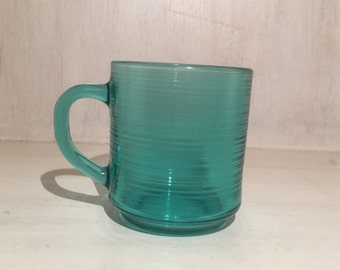VIntage Turquoise Glass Jardinere Glass Mugs by Arcoroc France