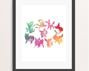 eevee evolutions, eevee print, pokemon poster, nintendo poster, eeveelution, sylveon vaporeon flareon jolteon leafeon glaceon umbreon espeon