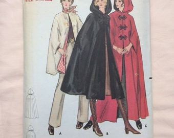 Butterick 5741 Uncut Bust 31/32 Cape Sewing Pattern Vintage Sixties 60s retro Small Size 8 Size 10 Outerwear Hooded Winter Dressmaking