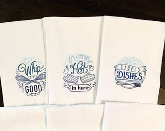3 - PACK of ombré Embroidered Tea Towels