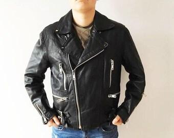 Black Leather Biker Jacket Short Heavy Leather Coat Genuine Leather Jacket With Faux Fur Lining Rocker Leather Jacket Biker Club Size Large