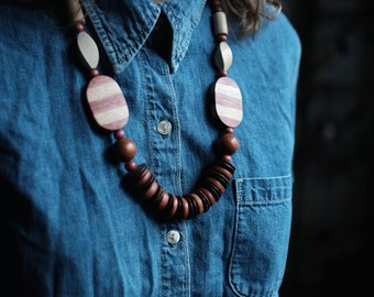 Wood Beaded Necklace | Handmade | Red and White