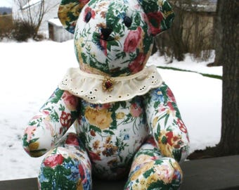 "Fabric Teddy Bear - ""Nanette"""
