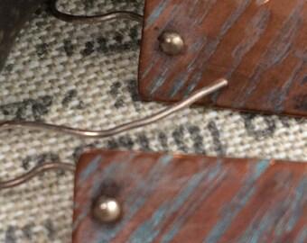 simple, rectangular copper earrings