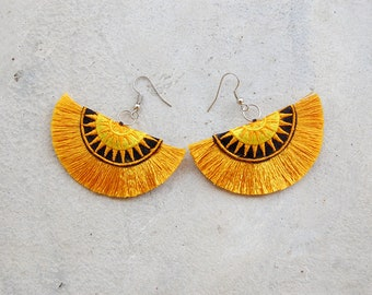 Ethnic Gold Tassel Earrings with Hmong Embroidery
