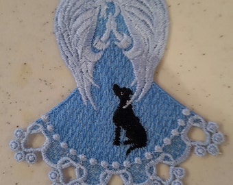 Angel Free Standing Lace Angel in Blue with Fur Baby