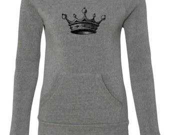Women's Off the Shoulder Crown Slouchy Sweatshirt with Pocket Alternative Apparel Gray