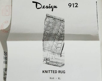 1969 Let's Sew Mail Order Knitting Pattern for a Leaf Stitch Rug New Condition!