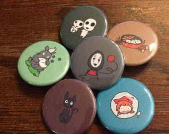 Studio Ghibli Buttons - Set of 6 (No Face, Kodama, Calcifer, Ponyo, Totoro, Jiji the Cat)