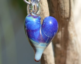 Hand Blown Glass Pendant - Multi-Color Heart Charm