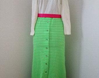 True 1960's Vintage - Retro 1960's Long Sleeved Maxi Dress - Bright Green Check Skirt with Ivory Mock Turtle Neck Top with Pink Ribbon Belt