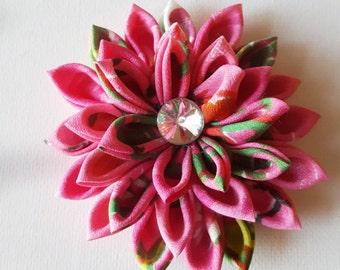 Kanzashi Flower Hair Clip, Pink Flower Hair Clip, Pink Hair Flower, Flower Hair Piece, Flower Clip, Pink Hair Clip, Hair Flower