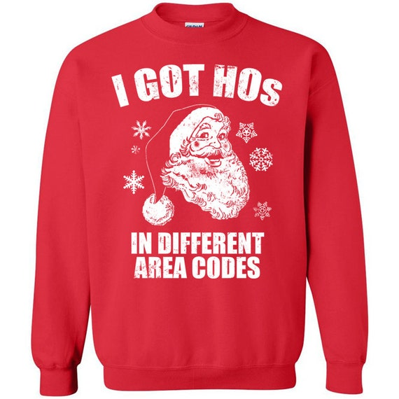 Ludacris I got hoes in different area codes Nate Dogg Santa Claus ho ho ho Christmas in Hollis Run DMC fugly ugly tacky sweater sweatshirt