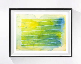 Original Abstract Art Contemporary modern watercolor painting Abstract modern artwork yellow blue painting lime green wall art 10 x 13