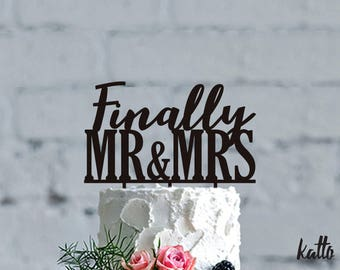Custom Wedding Cake Topper, Finally Mr and Mrs Cake Topper, Bridal Shower Cake Topper, Wooden Cake Toppers,Silver Cake topper, Gold Sparkles