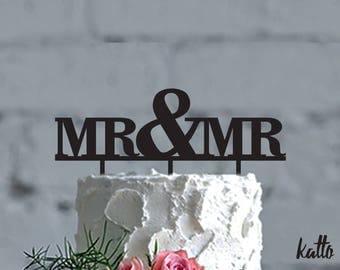 Mr and Mr Wedding cake topper- wedding Cake Topper- Custom Wedding Cake Topper- Customizable Mr & Mr Cake Topper- Personalized Cake topper