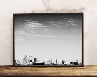 Kansas City BW  (16x20, 8x10 & 5x7) Instant Download