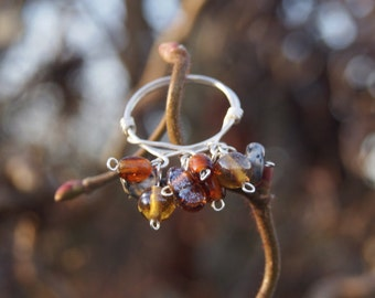Handmade cluster bead ring, Autumn colours glass bead ring, sterling silver
