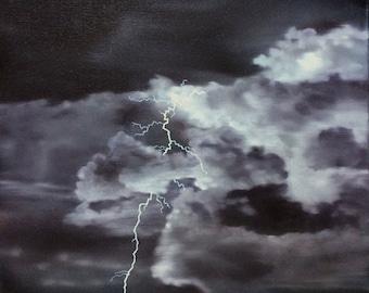 "Ocean Lightning original oil painting seascape thunderstorm landscape dark stormy sea night clouds by Sarah Lynch 16""x20"""