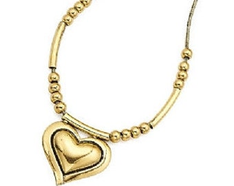 Gold Beaded Heart Necklace NK4004j