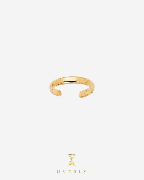 14k Solid Yellow Gold Shiny Adjustable Toe Ring