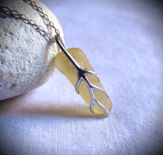 Yellow Sea Glass, Yellow Seaglass, Rare Sea Glass, Seaglass Pendant, Sea Glass Necklace, Sea Glass Jewelry, Sea Glass Jewellery - PJ17003