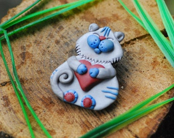Cat brooch Blue cat Polymer clay Сat heart  Handmade brooch Women's jewelry Christmas gift Kid's fashion For kids polymer clay jewelry big
