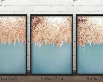 Instant Download 3 Painting Set, Art Print Set, Gold Leaf Paintings, Abstract Art Set, Gold Leaf Art, Art Set