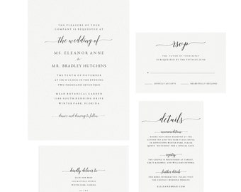 Adel: Instant Printable Wedding Invitation Template, Calligraphy Wedding Suite, DIY Invitation Kit, Simply Editable PDF Instant Download