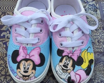 Hand Painted Minnie Mouse Toddler Shoes with Name Customization