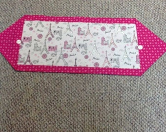Pink and white Paris table runner