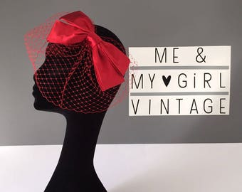 Red Bow Birdcage Veil, Birdcage Veil, Bow Birdcage, Red Birdcage, Wedding Guest Fascinator, Red Bridal Veil, Red Headpiece, Red Bow Veil