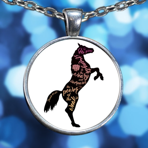 Isaiah 40:29 Horse Lover Silver Plated Heart Horse Necklace - Inspirational Jewelry With Chain White Background Gift Dressage Horseback Gear
