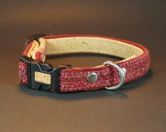 Red dog collar, Size S, cork dog collar, red puppy collar, handwoven puppy collar, light weight puppy collar,  - DRDR0916S1-2/2