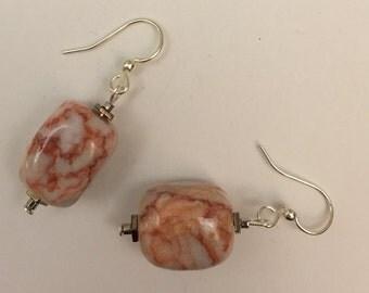 Red Line Marble Earrings