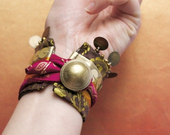 Spices from the Souk - Adjustable Wrap Cuff Bracelet - Tribal Bellydance Jewelry - Handmade in Kansas, USA - Moth & Rust Designs