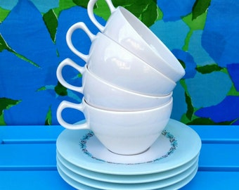 Melmac Ware Cups & Saucers, Set of 4, Vintage Oneida Premier, 1960s Mid Century Melamine Dishes, Robins Egg Blue with White