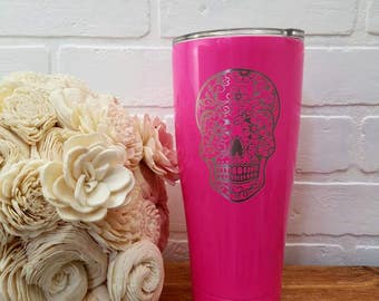 Sugar Skull - Insulated Tumbler - Laser Engraved Sugar Skull - Personalized Gift - Hot & Cold Cup - Personalized Cup - Powder Coat - Custom