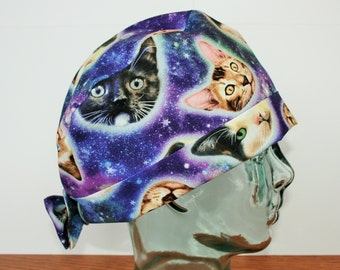 Cat Heads in Space, Animals, Surgical Scrub Hat, Scrub Cap, Women's Tie Back Hat, Scrub Caps By Daisy