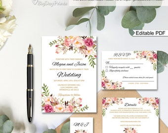 Floral Wedding Invitation Template, Boho Chic Wedding Invitation Suite, Wedding Set, #A008B, Editable PDF - you personalize at home.