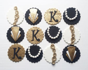 Great Gatsby, Glam Gold White and Black, Cupcake Toppers