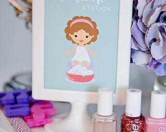 Spa Party Printable Pedicure Station, INSTANT DOWNLOAD Home Girls Spa Day, Mommy/Daughter Spa Day, PDF