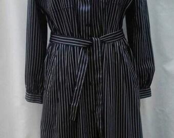 BURBERRYS vintage 80s navy blue and white pinstripe cotton shirtdress