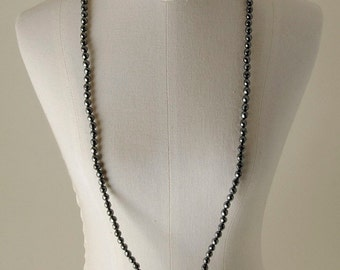 Pearl Necklace with faceted Hematite and Silver 925 Sadiq,%