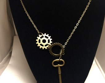 Gear Key Necklace Chain Necklace Steampunk Necklace Gear Necklace Key Necklace Chain Necklace Gear Steampunk Key Steampunk