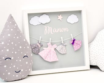 """""""Little dresses by Adele"""" origami frame personalized (name) / 3 colours"""