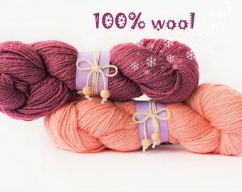 2pcs Wool yarn - wool knitting yarn - 200g(2pcs) - Colors Violet, Baby Pink - Wool