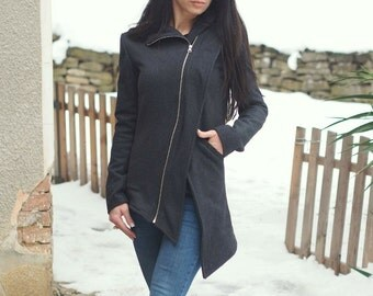 Asymmetric grey cashmeere coat/Extravagant grey jacket/Elegant cashmeere Coat/Asymmetric Zipper coat/Comfortable Formal jacket