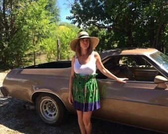 SUMMER SALE!! Vintage Cotton Skirt with Elastic Waist