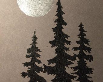 Silhoetted fir trees with full moon- original artwork lino cut inked prints, A5 (148x210mm) - winter scene, monotone, silver moon tree print